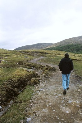 Hiking toward Urgagh stone circle.