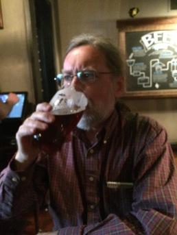 Mike enjoying a pint.