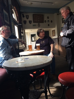 The lads having a pint at the Baltic Fleet