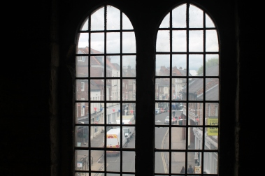 View through the windows of Mickelgate bar
