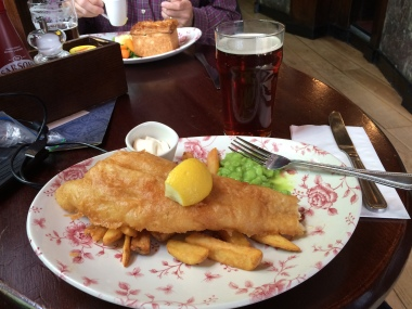 Classic Fish and Chips with peas. Blackfriar pub in London