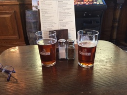 Bitter ales from the cask (Bishop and Bear in London).