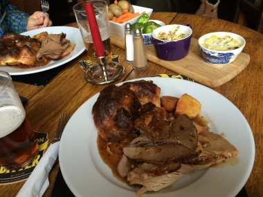 Sunday Roast with Yorkshire pudding. Richard III pub in Middleham, Yorkshire
