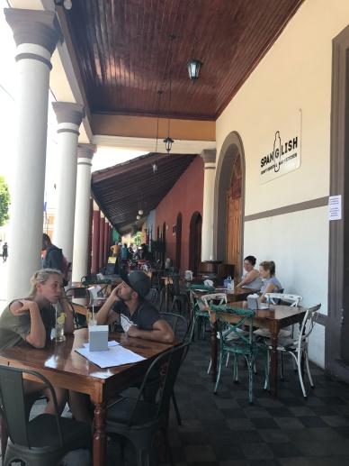 Restaurants along the plaza