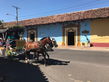 Horse carriage going by the Casa