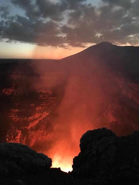 The volcano's edge.