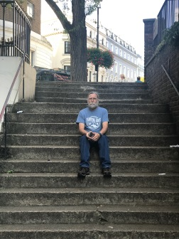 MIke on the steps of Elms Mews.
