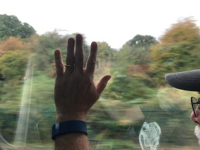 """Waving """"hello"""" to Big Big Train as they rehearse at Real World Studios just off the train line at Box."""