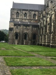 Footprint of the original Winchester Cathedral alongside the current structure.